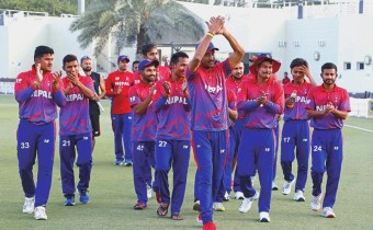Nepal skipper Paras Khadka and team members acknowledging fans after beating the UAE in the third One Day International match at the ICC Academy grounds, in Dubai, on Monday, January 28, 2019. Photo courtesy: CricketingNepal