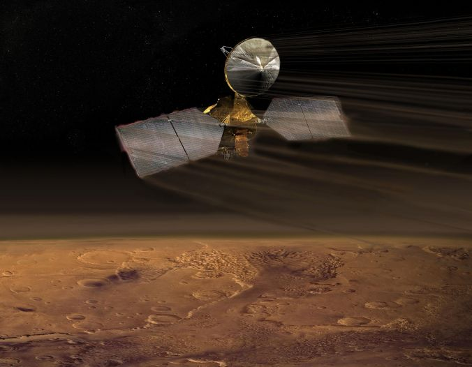 An image of a spacecraft with a satellite dish, solar panels, and a gold foil central body over the rusty red cratered surface of Mars, with lines indicating the atmosphere interacting with the motion of the spacecraft.