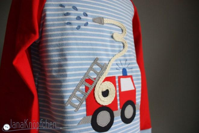 Feuerwehrshirt nähen - zum Geburtstag mit Feuerwehrapplikation - JanaKnöpfchen Nähen für jungs