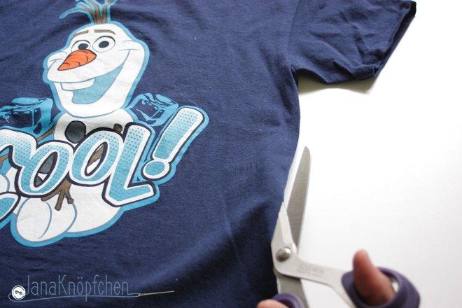 Tutorial upcycling t-shirt aus groß nähe klein. Seitennaht aufschneiden. JanaKnöpfchen Nähen für Jungs