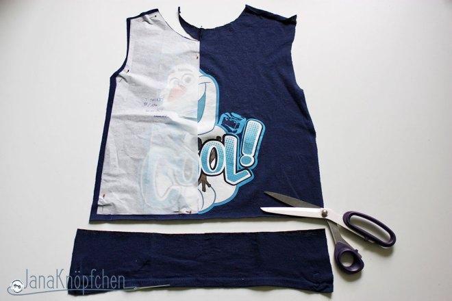 Tutorial upcycling t-shirt aus groß nähe klein. Vorderteil zuschneiden. JanaKnöpfchen Nähen für Jungs