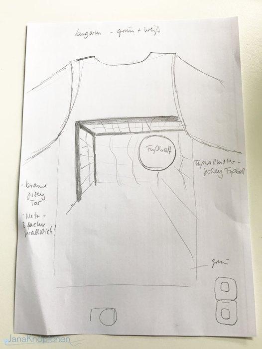 Geburtstagsshirt nähen mit Fußball Skizze von der Applikation. JanaKnöpfchen - Nähen für Jungs