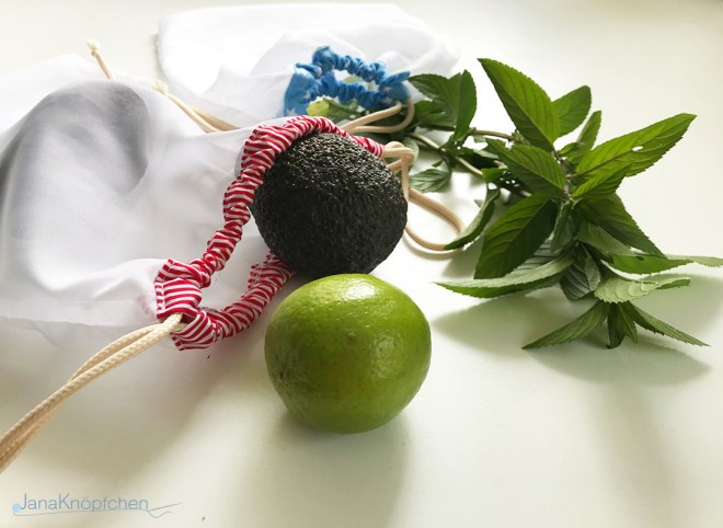 Obst- und Gemüsebeutel nähen - Upcyclingprojekt aus altem Betthimmel. JanaKnöpfchen - Nähen für Jungs