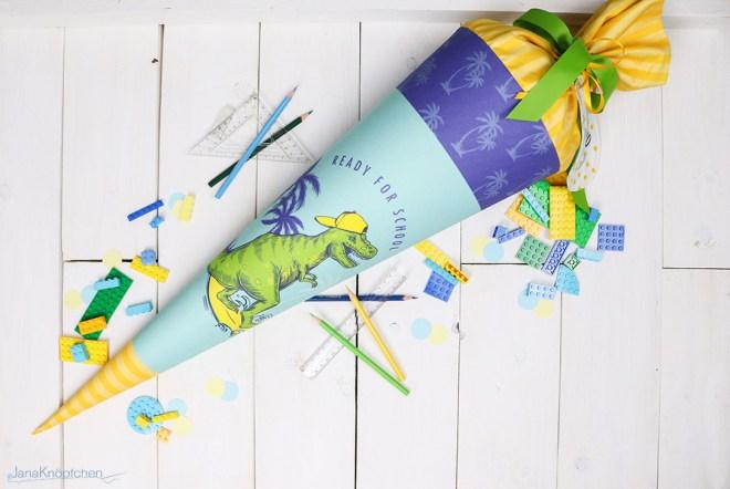 Blogpost Schultüte nähen für Einschulung eines Dinofans. JanaKnöpfchen - Nähen für Jungs