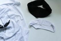 Zuschnitt der neuen Halsbündchen für T-Shirt. JanaKnöpfchen - Nähen für Jungs