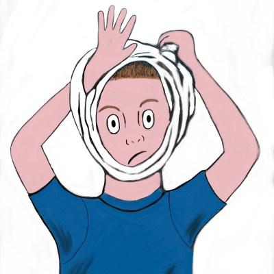 Roland's underwear stuck on his head