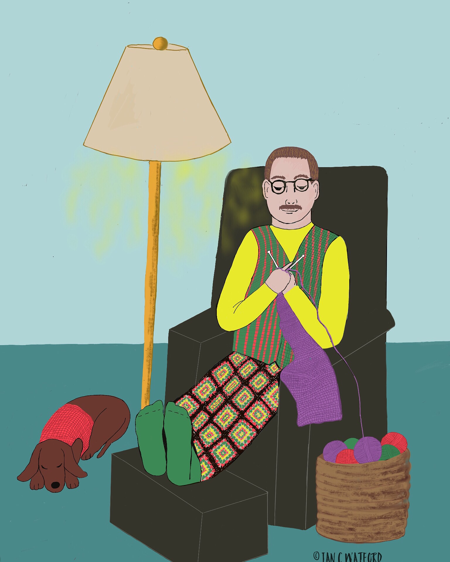 Male Knitter-prompt-knitting-#52-Week-Illustration-Challenge