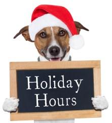 HolidayHoursSignWithDog