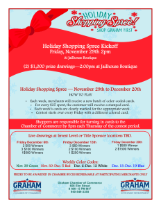 Graham Holiday Shopping Spree in Graham, Texas, November 29 through December 20, 2019.
