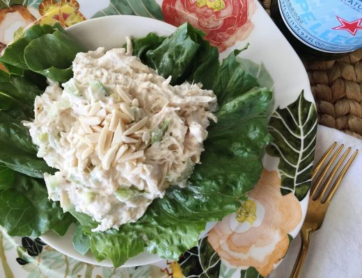 Creamy chicken salad with slivered almonds - so easy and so good!