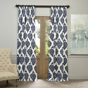 Navy and White Ikat Curtains Image