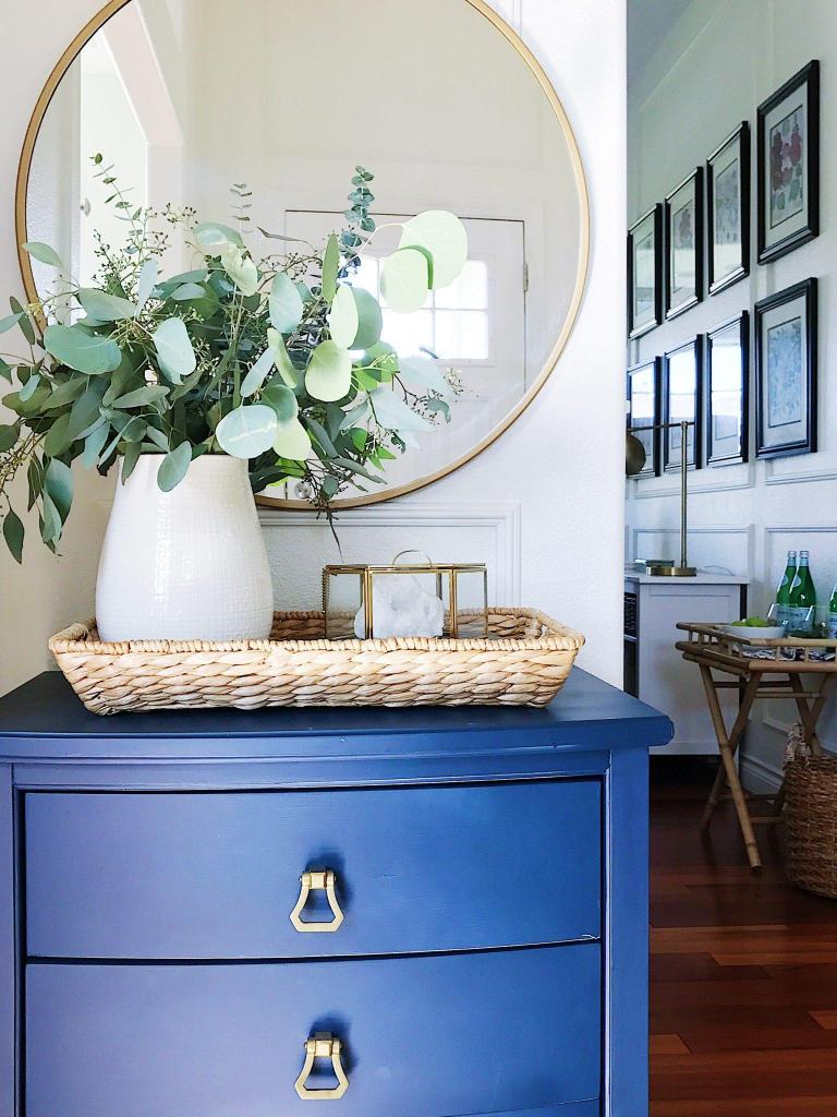Entryway ideas-blue cabinet-round mirror-panel moulding-refresh your home decor