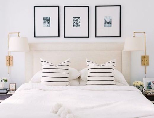 Loving Lately - Alaina Kaz's gorgeous white bedroom with black and white striped pillows