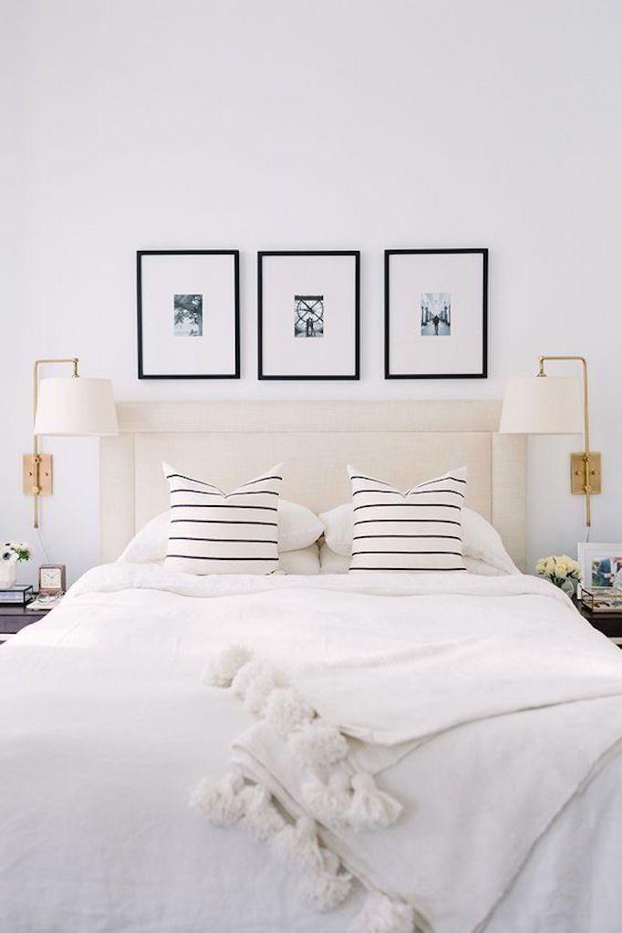 Loving Lately - Alaina Kaz's gorgeous white bedroom with black and white striped pillows