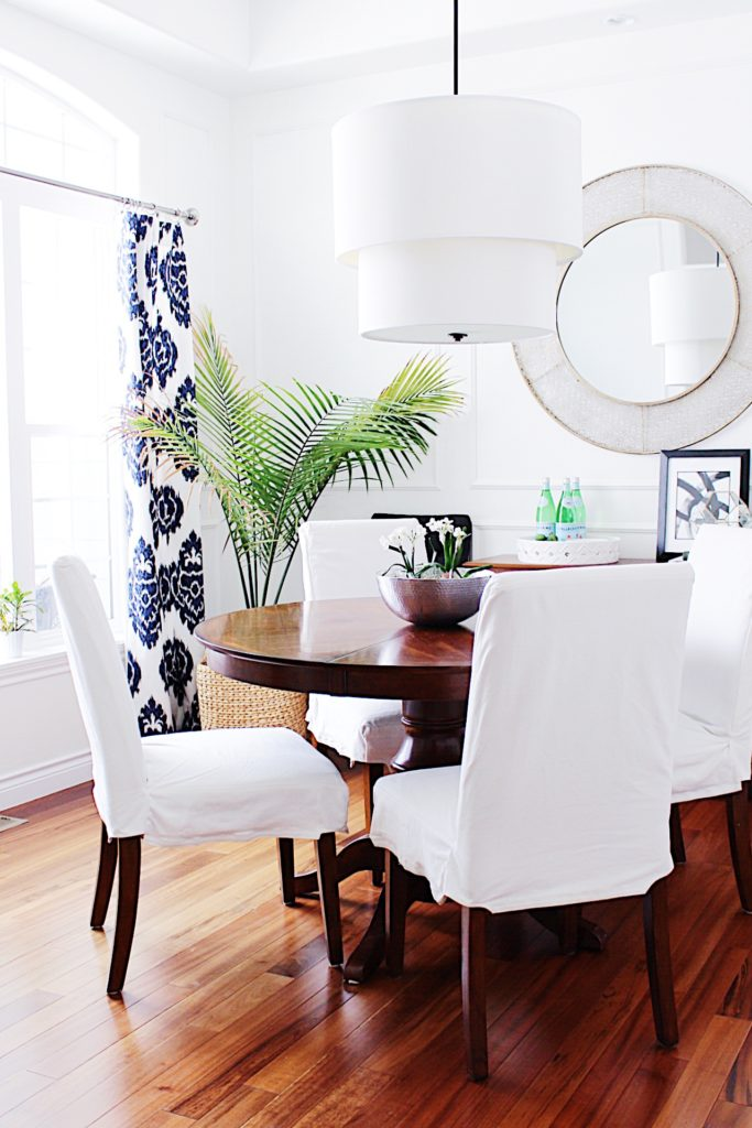 Dining room with blue and white ikat