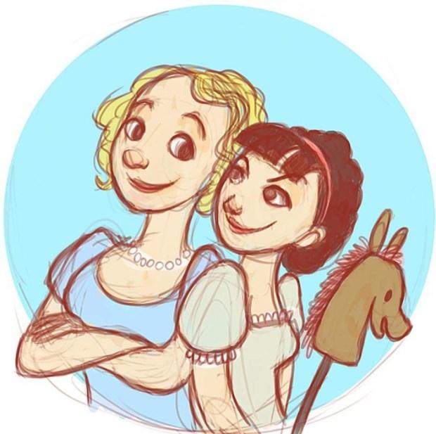 Esther Longhurst e Jess Mess em ilustração de Chloe Elizabeth Flockart