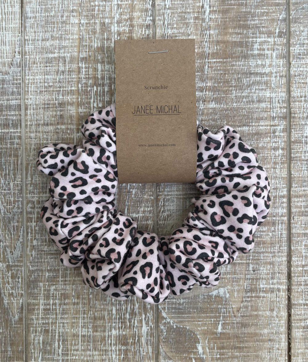 Blush Leopard print hair scrunchies