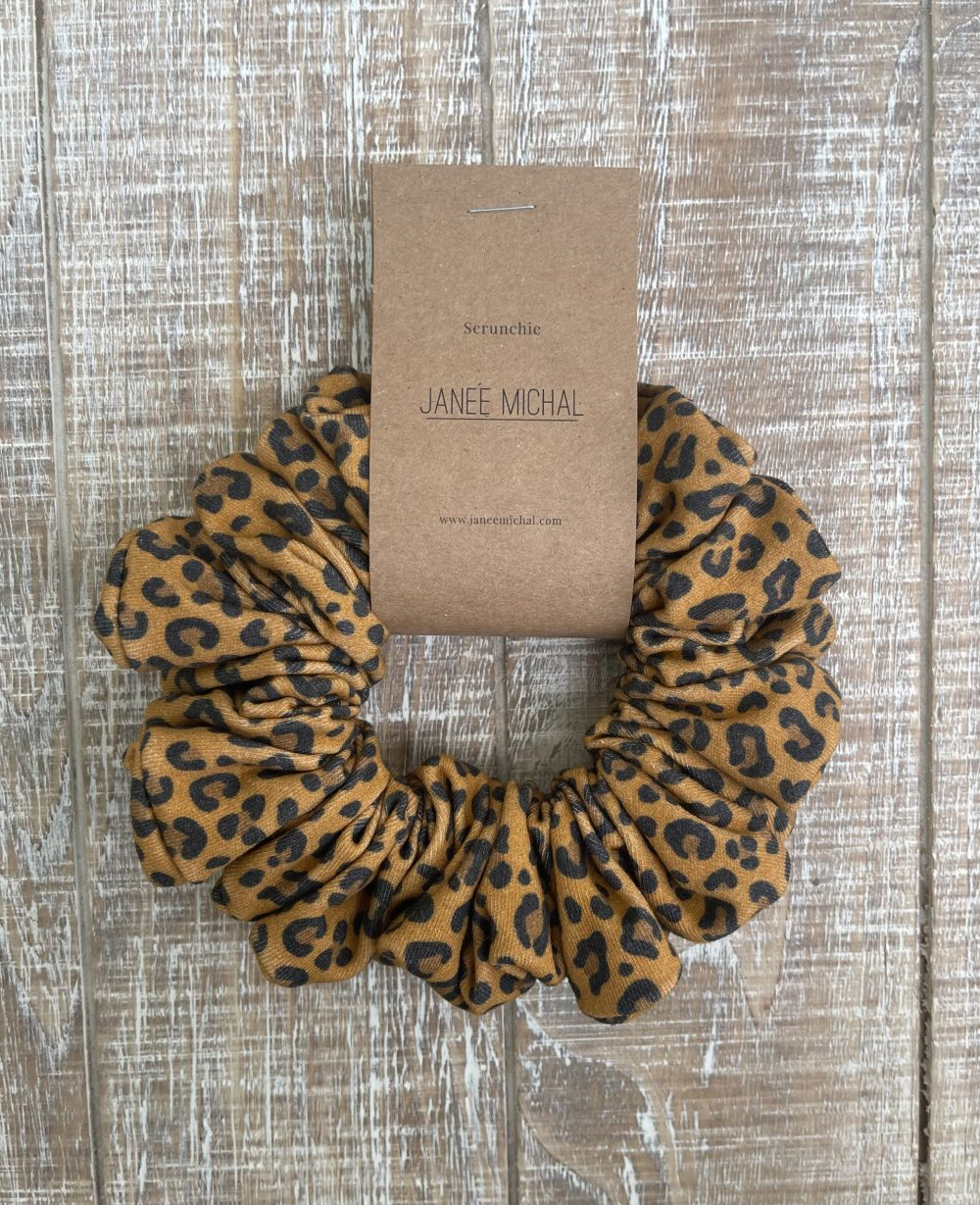 Mustard Leopard Print hair Scrunchies