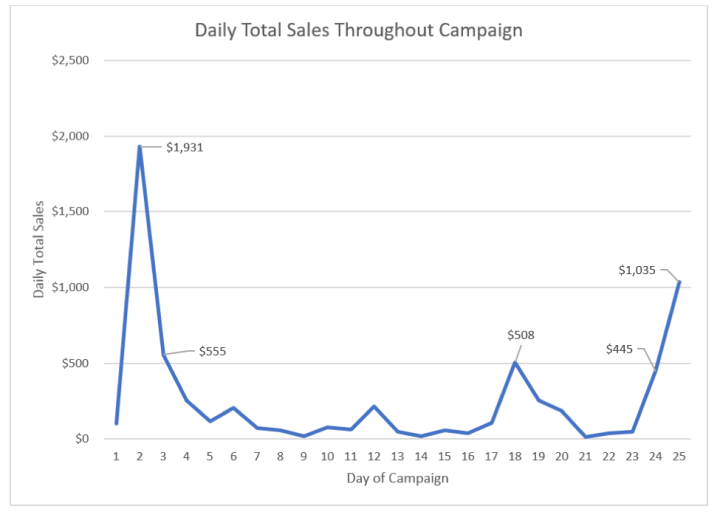 daily total sales throughout crowdfunding campaign