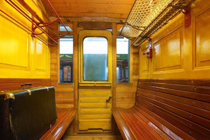 Image: interior of old railway carriage
