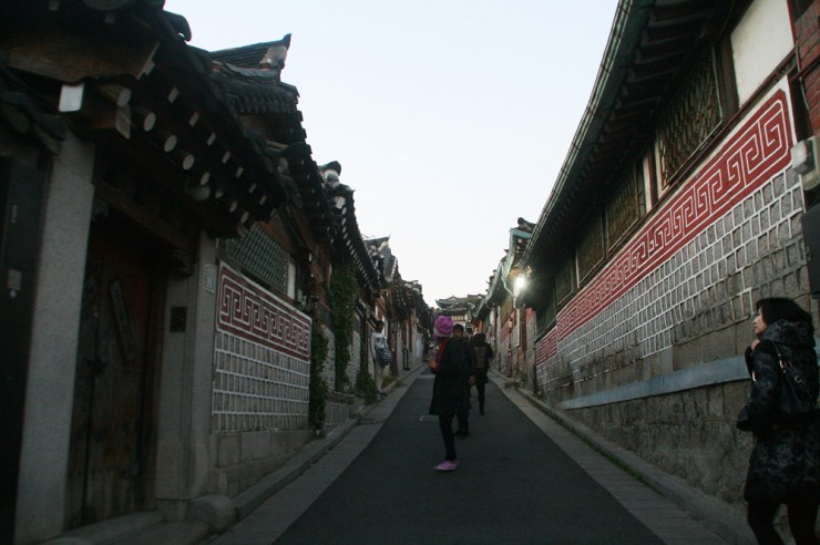 bukchon hanok village at dusk