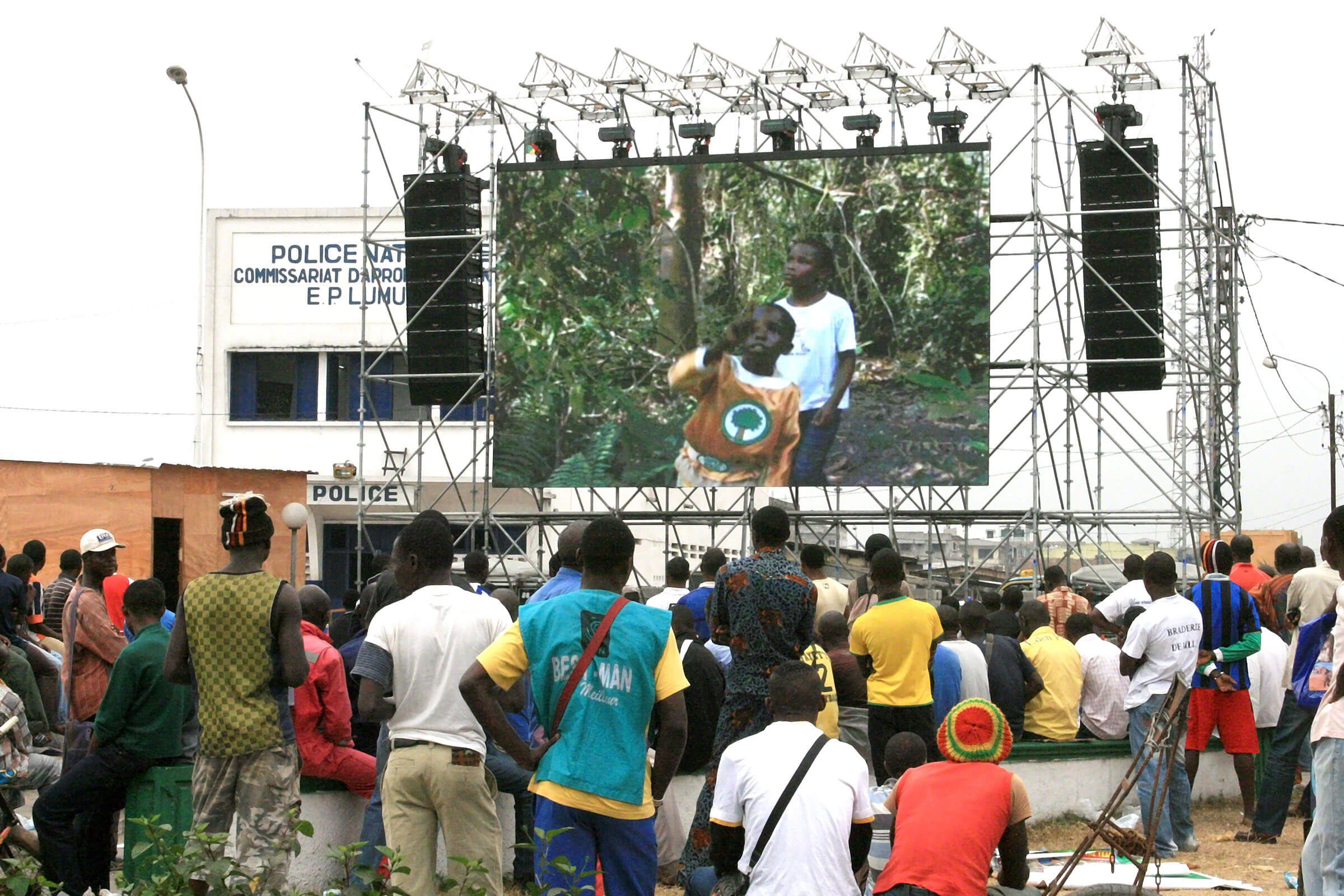The Super Kodo TV show is broadcast on a big screen in Pointe Noire, Republic of Congo