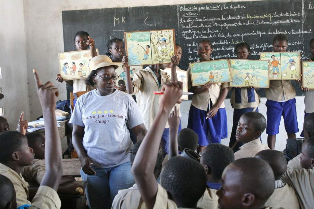 School children in the Tchimpounga area learn about chimpanzees and the environment through a program sponsored by Chevron