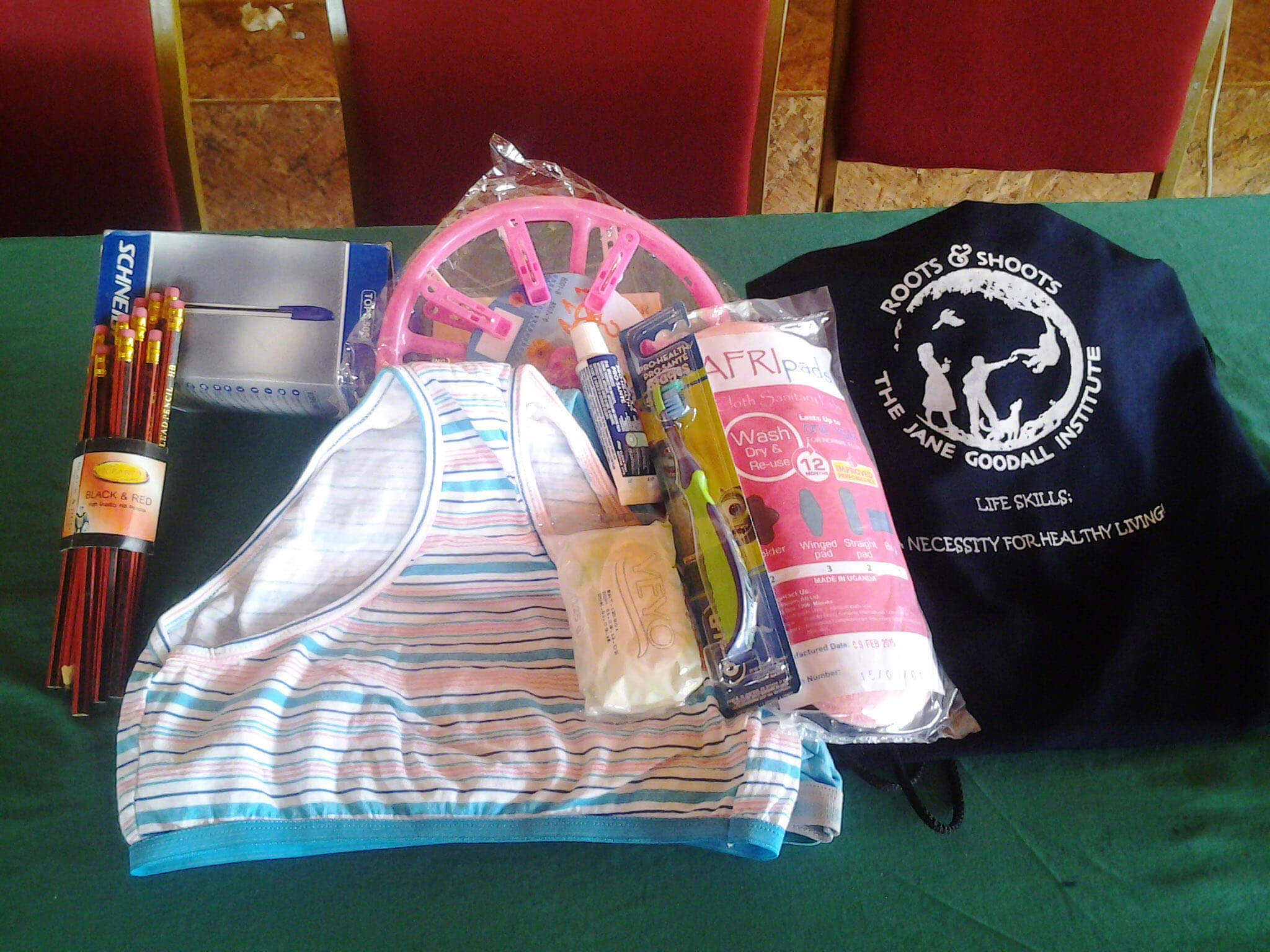 Kit of supplies given to girls in Uganda Peer to Peer program for teaching reproductive health