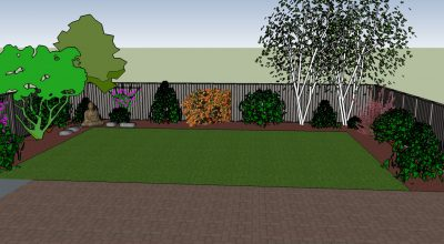 3D drawing showing trees and shrubs