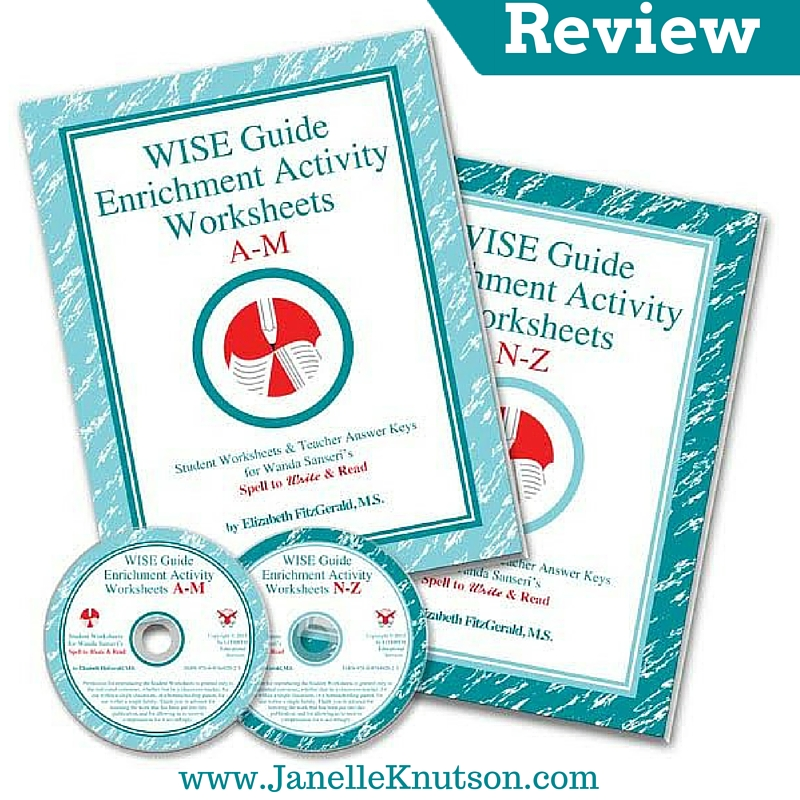 WISE Guide Enrichment Activity Worksheets {Review} - Janelle Knutson
