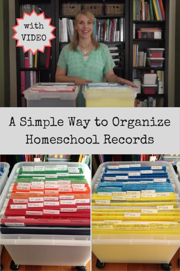 A Simple Way to Organize Homeschool Records with an instructional video and helpful links