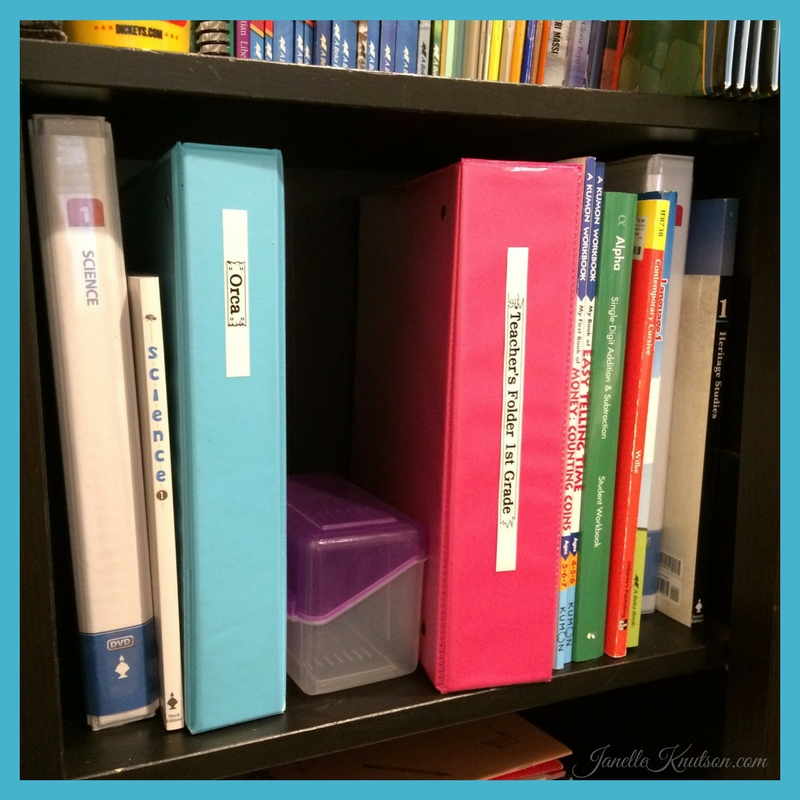 1st grader's homeschool shelf