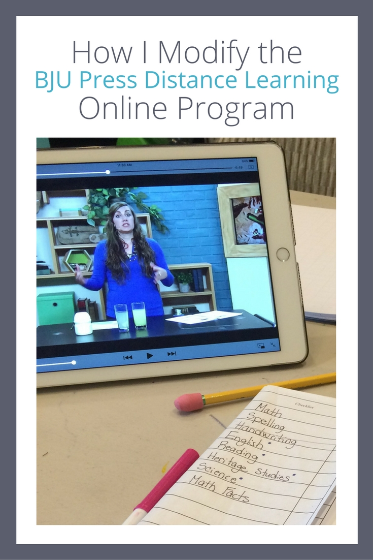 How I Modify the BJU Press Distance Learning Online Program for my kids.