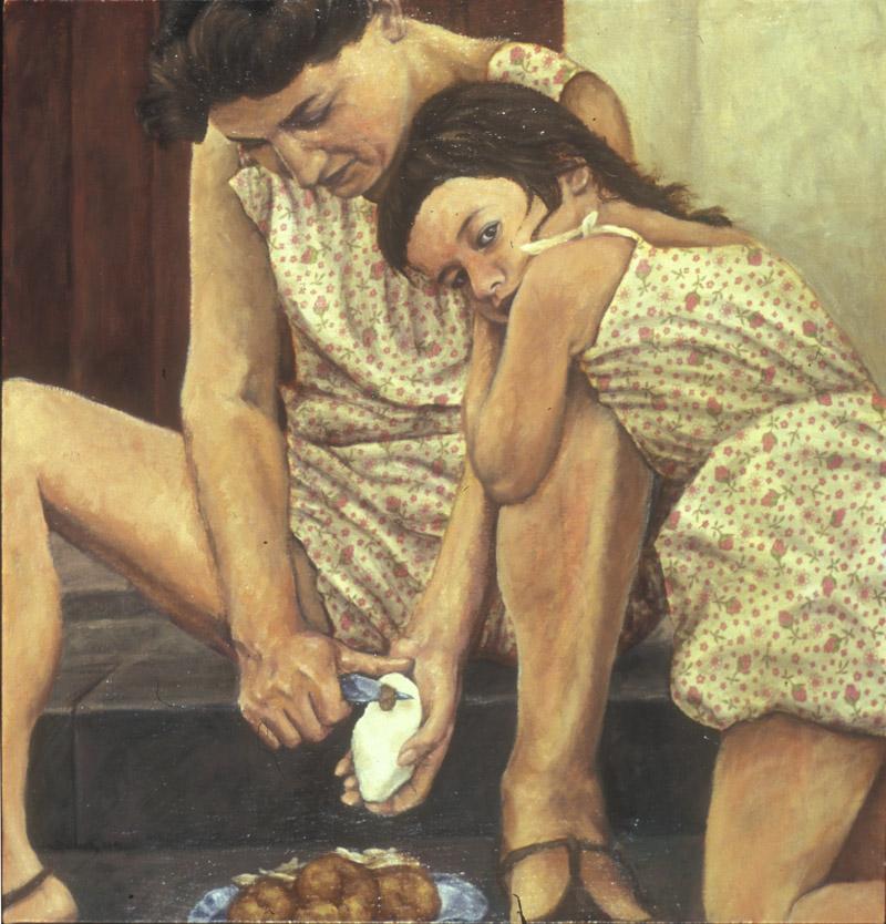 george sugarman, arden sugarman, contemporary art, oil painting, vintage fabric, fiber arts