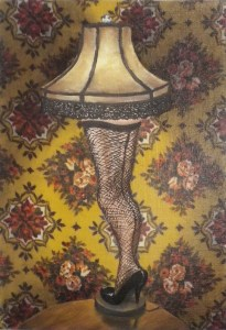Leg Lamp Productions, A Christmas Story, contemporary art, oil painting, vintage fabric, Jane Richlovsky