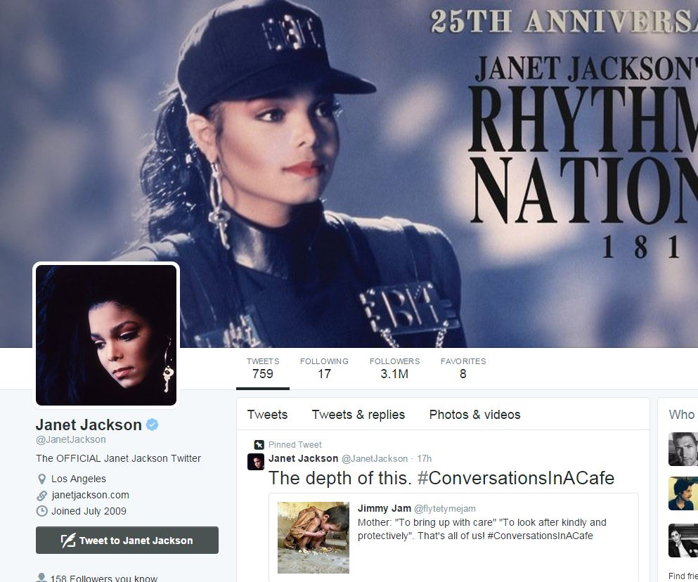 Screengrab of Janet Jackson twitter page