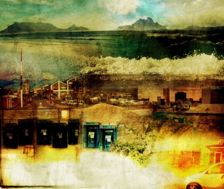 Landscape with Table Mountain, waves and city elements