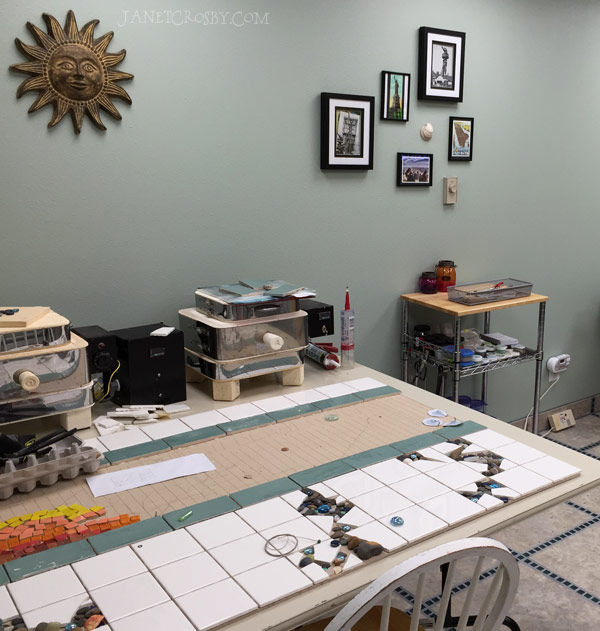 Finished Studio glass mosaics and fusing table - www.janetcrosby.com