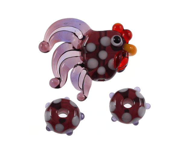 Mini Purple Rooster Set by Janet Crosby