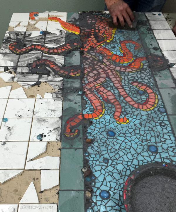 Studio Husband Grouting Octopus Mosaic