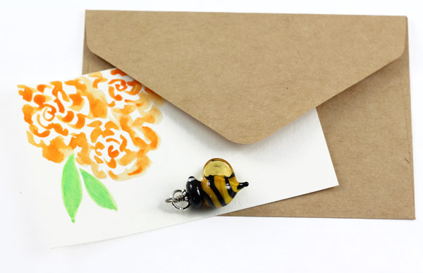 Bee Charm and Hand-painted Watercolor Notecard