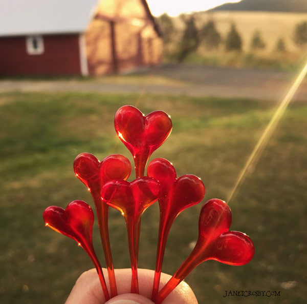 Red Glass Hearts by Janet Crosby