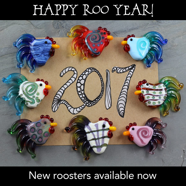Happy Roo Year 2017 - Rooster Beads by Janet Crosby