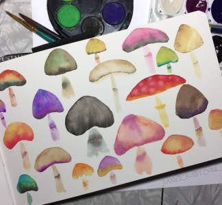 Watercolor Mushrooms by Janet Crosby