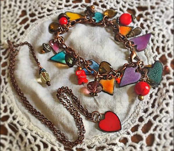 Enameled Hearts Bracelet - designed by a customer (photo used with permission)