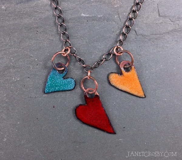 Enameled Heart Necklace by Janet Crosby