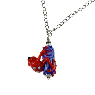 Red Zinger Frog Necklace by Janet Crosby