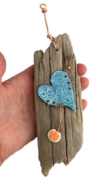 Driftwood Wave Heart by Janet Crosby
