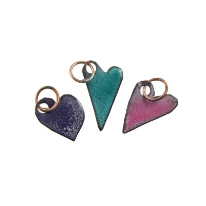 Enameled Heart Charm Trio by Janet Crosby