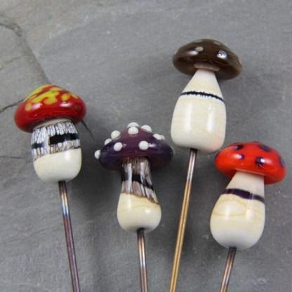Glass Mushroom Plant Stakes by Janet Crosby